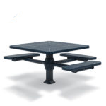 46 inch Square Pedestal ADA Accessible Picnic Table with - 3 Seats - Superior Frame - Signature Series - Inground