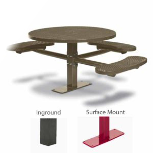 46 inch Round ADA Accessible Pedestal Picnic Table with 3 Seats - Basic Frame - Signature Series - Inground or Surface Mount