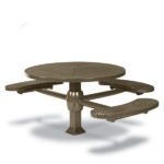 46 inch Round ADA Accessible Pedestal Inground Picnic Table with 3 Seats - Superior Frame - Signature Series - Inground