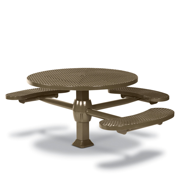 46 inch Round ADA Accessible Pedestal Inground Picnic Table with 3 Seats – Superior Frame – Signature Series – Inground