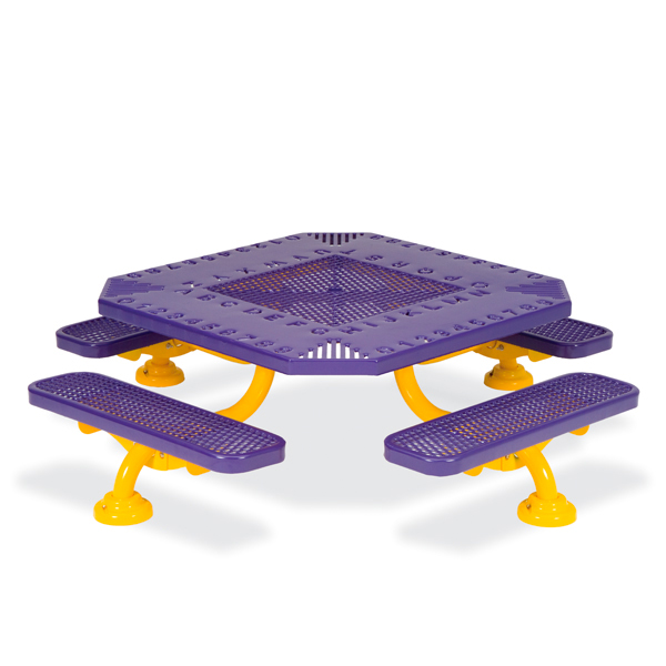 Children's 46 inch Square Alphabet Picnic Table – Spyder Series – Portable/Surface Mount