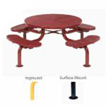 46 inch Round Picnic Table - Spyder Series - Portable/Surface Mount or Inground