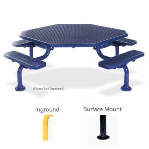 ADA Accessible Octagon Picnic Table with 4 seats - Spyder Series - Portable/Surface Mount or Inground