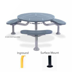 36 inch & 46 inch Round Picnic Table with 3 Legs - Spyder Series - Portable/Surface Mount or Inground