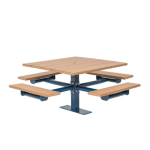 Square Picnic Table 4 Seats - Green Valley - Inground or Surface Mount