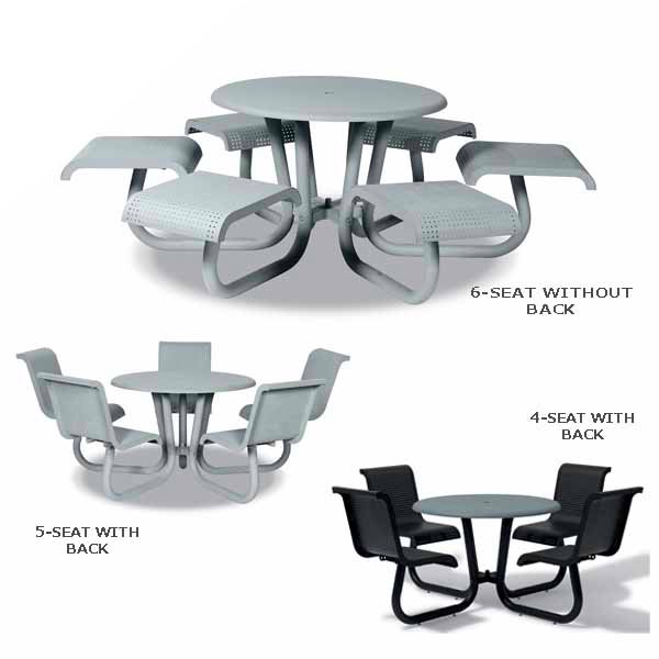 42 inch Outdoor Table/Picnic Table with Attached Seating – Portage Collection