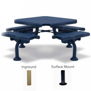 "46"" Square Picnic Table - 4 Seats - Camden Collection - Portable/Surface Mount or Inground"