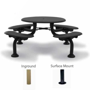 "42"" Round Patio Picnic Table - 4 Seats - Camden Collection - Portable/Surface Mount or Inground"