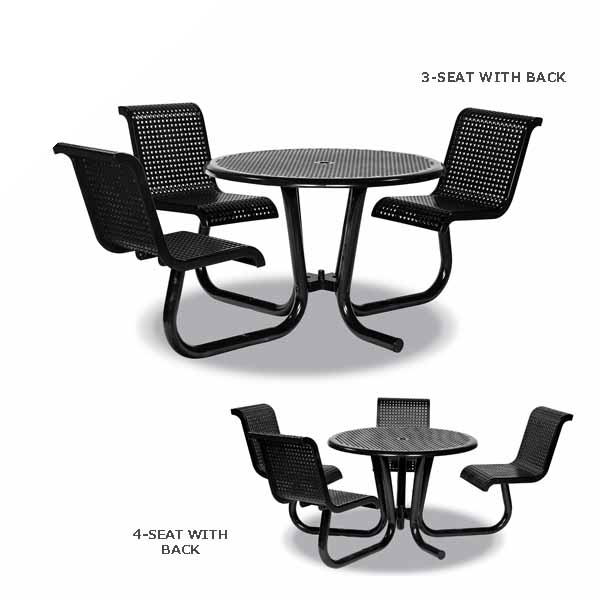 42 inch ADA Accessible Outdoor Picnic Tables with Attached Chairs – Camino Series – Surface Mount