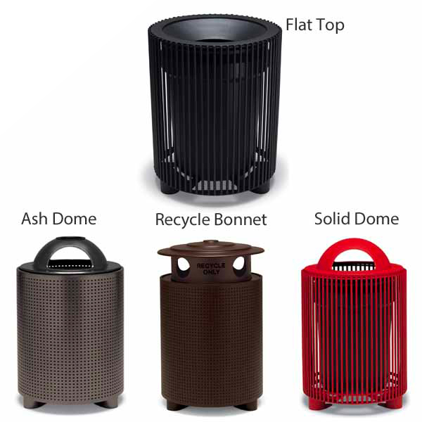 """Elegance – """"E"""" Style 32 Gallon Outdoor Trash Receptacle with Liner"""