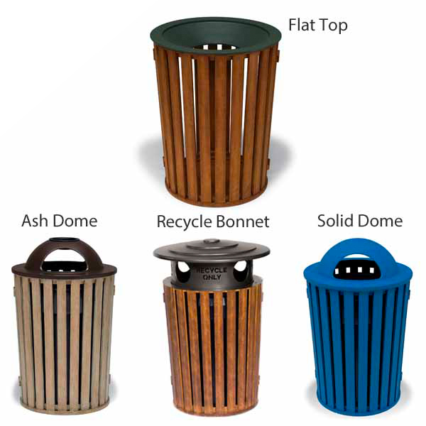 "Elegance – ""FG"" Style 32 Gallon Outdoor Trash Receptacle with Liner"