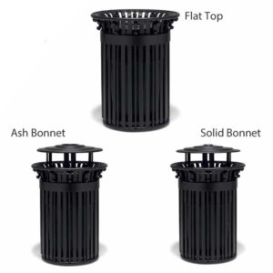 "Elegance - ""I"" Style 32 Gallon Outdoor Trash Receptacle with scrolls and Liner"