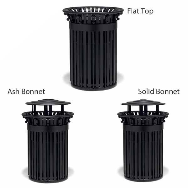 "Elegance – ""I"" Style 32 Gallon Outdoor Trash Receptacle with scrolls and Liner"