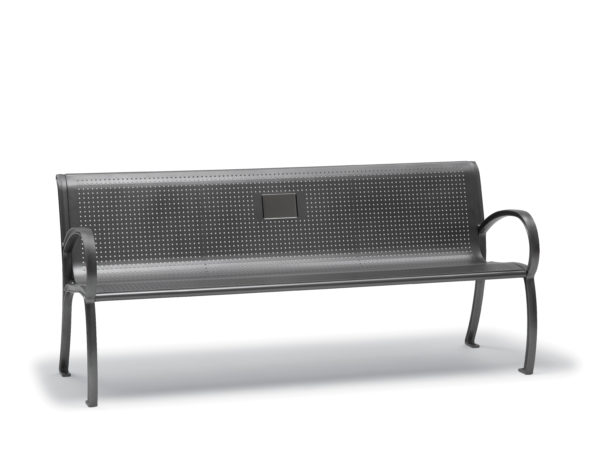 6 foot Memorial Outdoor Bench with Back, with Arms - Winchester Collection - Portable/Surface Mount