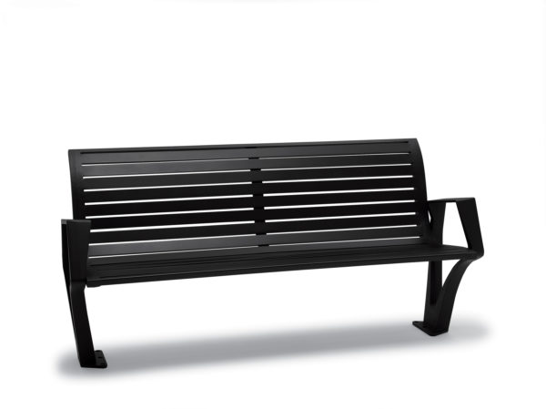 6 foot Outdoor Bench with Back, with Arms - Woodridge Collection - Surface Mount