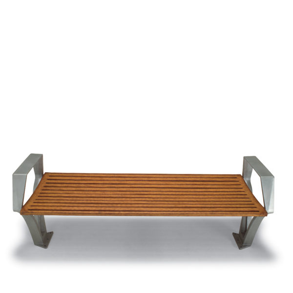 6 foot Outdoor Bench without Back, with Arms - Woodridge Collection - Surface Mount