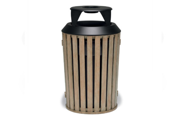 Elegance – 32 Gallon Outdoor Trash Receptacle with Liner – Woodridge Collection