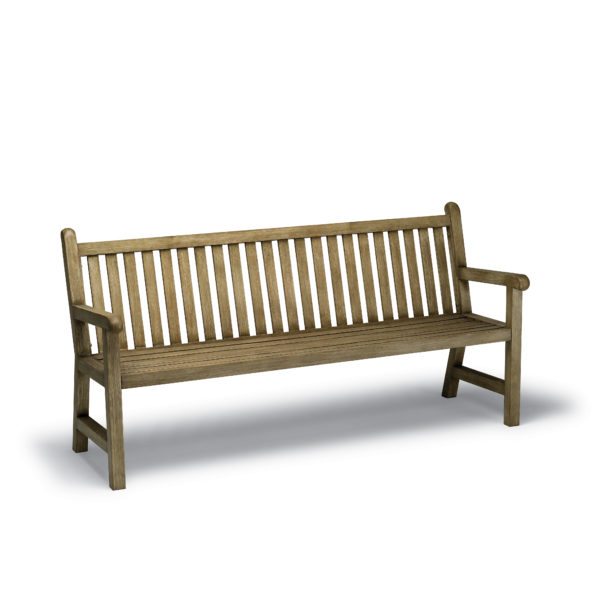 Light brown bench with wooden slats