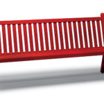 Red bench with wooden slats