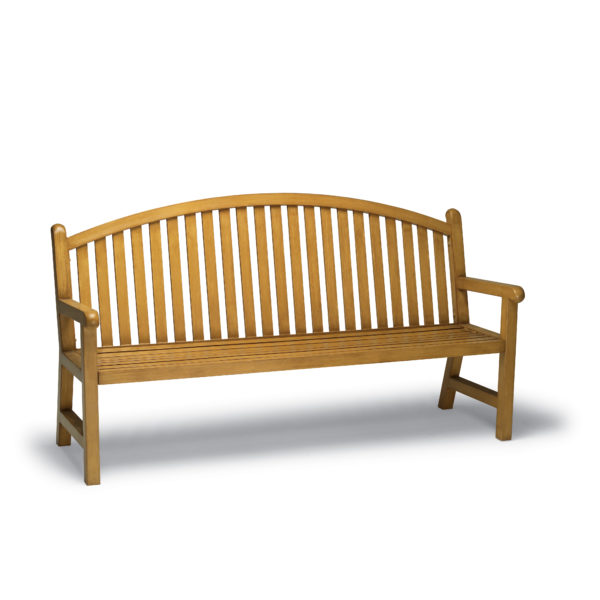 Yellow bench with curved arch
