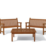 Wooden benches with 48 in coffee table