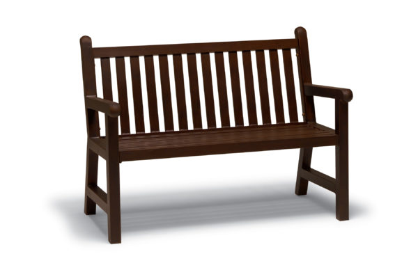 Dark brown bench with wooden slats