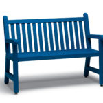 Bright blue bench with slats