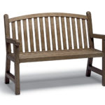 Light brown bench with slats