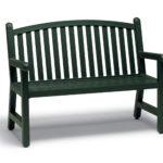 Dark green bench with slats