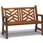 Light brown bench with criss cross pattern