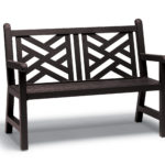 Dark brown bench with criss cross pattern