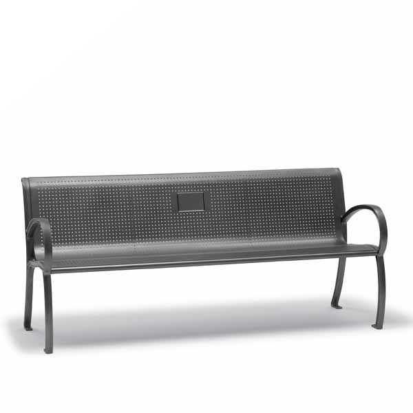 6 foot Memorial Outdoor Bench with Back, with Arms – Winchester Collection – Portable/Surface Mount