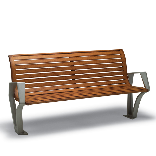 6 foot Outdoor Bench with Back, with Arms – Woodridge Collection – Surface Mount