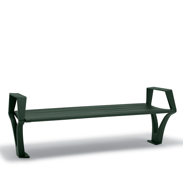 6 foot Outdoor Bench without Back, with Arms – Woodridge Collection – Surface Mount