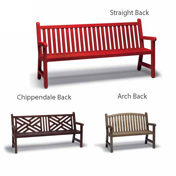 4 foot and 6′ foot Outdoor Bench with Back, with Arms – Yorktown Collection – Portable/Surface Mount