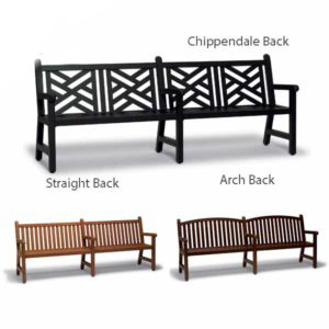 8 foot Outdoor Bench with Back, with Arms - Yorktown Collection - Portable/Surface Mount