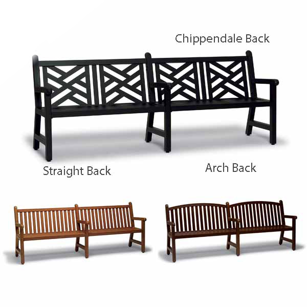 8 foot Outdoor Bench with Back, with Arms – Yorktown Collection – Portable/Surface Mount