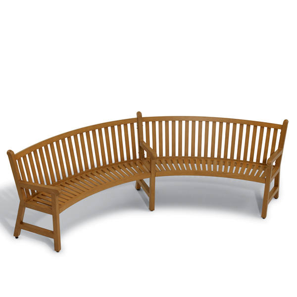 8 foot Curved Outdoor Bench – Yorktown Collection – Portable/Surface Mount
