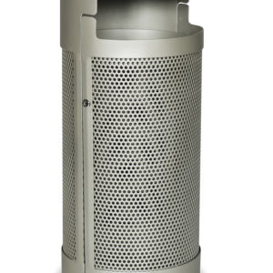 Beige outdoor trash receptacle with opening