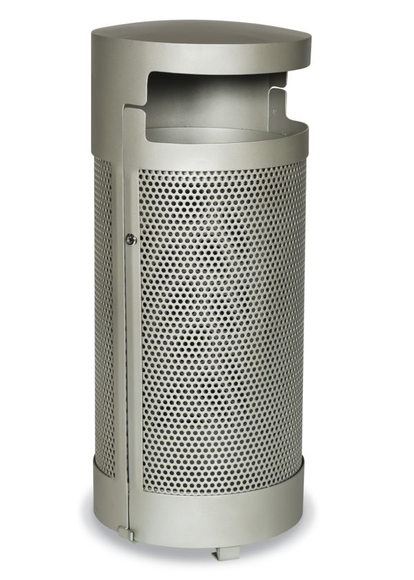 "Elegance - ""M"" Style Outdoor Trash Receptacle with Side Door - Portable/Surface mount"