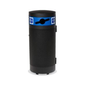 Black trash receptacle