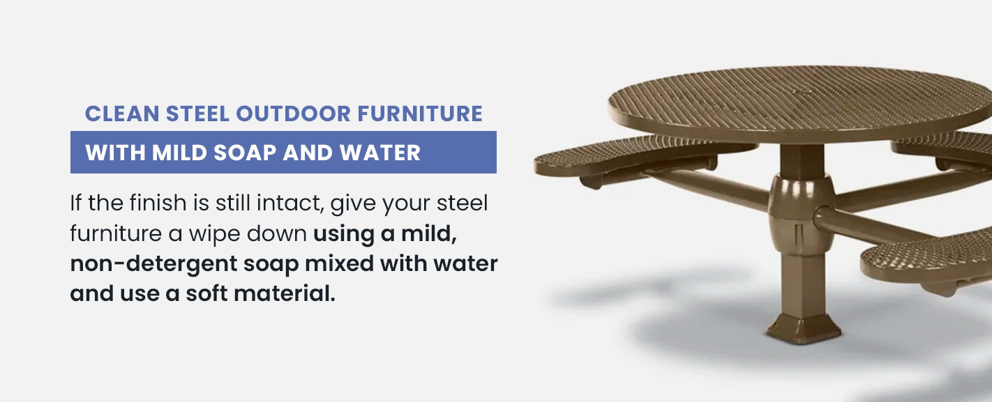 Clean furniture with mild soap and water