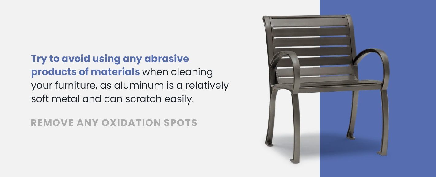 Remove oxidation spots from outdoor furniture