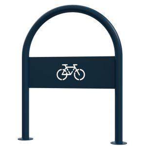 Blue open commercial bike loop rack