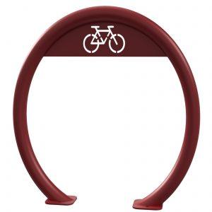 Red open circular bike rack