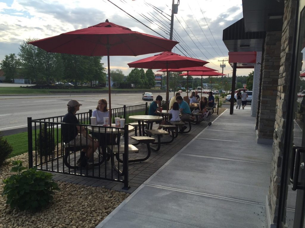 People eating outside of restaurant