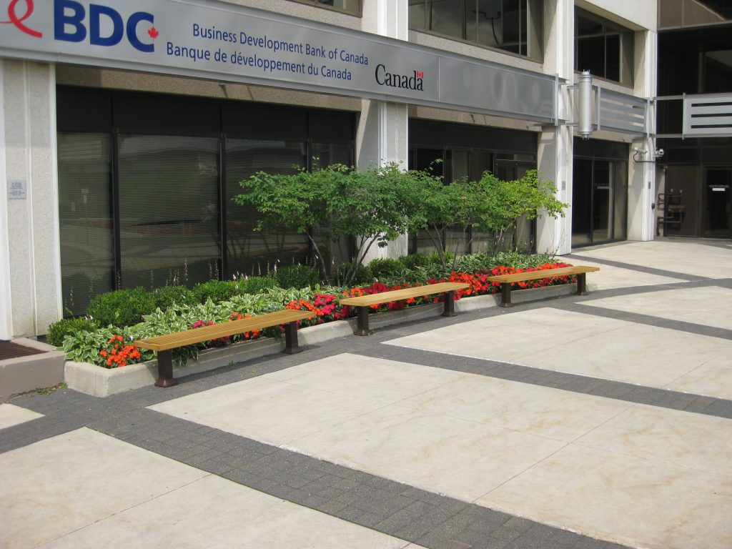 Outdoor benches outside of office building