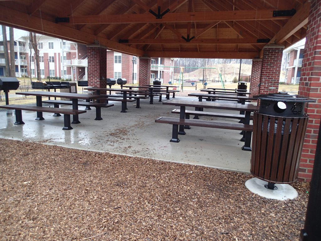 Outdoor benches at park