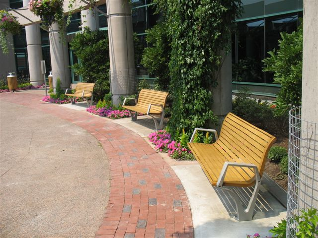 Outdoor retail center with wooden benches