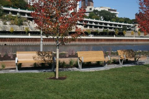 Commercial outdoor benches at park